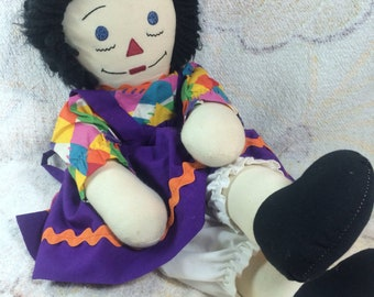 Raggedy Ann Doll Handmade Looking Purple Colorful Outfit Stuffed Animal