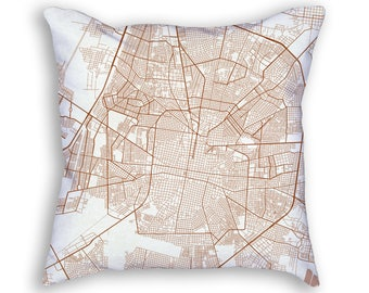 Merida Mexico City Street Map Throw Pillow