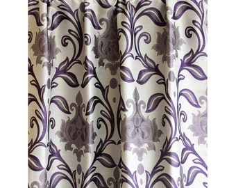 purple and gray shower curtain. Purple Taj Damask Curtain 52 X84  Rod Pocket Panels Drapes Home Living Bedroom Grey Leaves Burnout Velvet 52x84