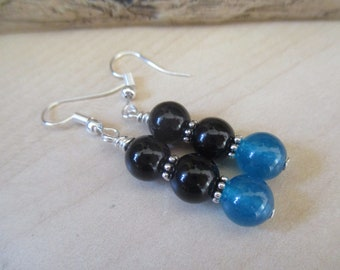 Black Onyx and Blue Apatite Drop Earrings