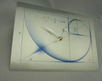 Fibonacci Golden Ratio -Sacred Geometry silent Wall Clock with Glide Motion, Brushed Silver Metal.. Can be Personalised with a Message.