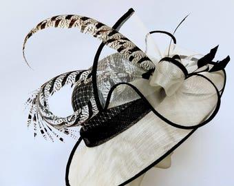 Kentucky Derby Black White Hat Straw Hat WIDE BRIM Hat Church Ivory Black