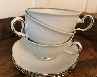 Vintage Winterling Kirchenlamitz Bavaria White Tea Cups and Saucers with Silver Band Detail Set of 3