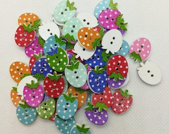 20 Strawberry Shaped Wooden Buttons-Fruit Buttons-Wooden Buttons-Strawberry Buttons-Red Buttons-Pink Buttons-Cute Buttons-Blue Buttons
