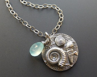 Fine and Sterling Silver Ammonite Fossil, Ladder Snail and Marine Snail Necklace with Faceted Sea Blue Chalcedony Teardrop Briolette