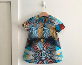 African Wax Print A Line Dress Toddler Girl's