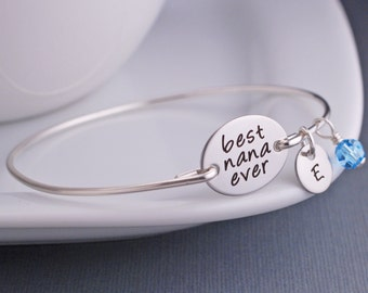 Nana Bracelets, Custom Engraved Gift for Nana, Silver Best Nana Ever Bracelet, Mother's Day Gift for Nana, Mother's Jewelry