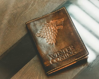Leather cover on the passport Game of Thrones Bags Purses Luggage Travel Travel Wallets passport cover ned stark passport wallet