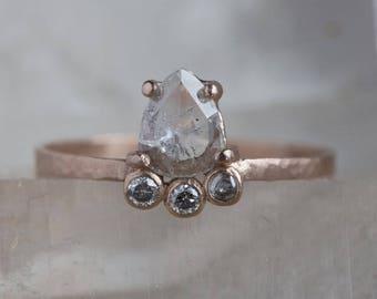 Natural Rose Cut Salt + Pepper Arc Diamond Ring