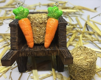 carrot vegetable polymer clay earrings