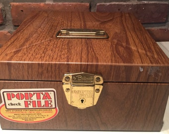 Porta File Check File  Vintage Check Storage Lock Box with Key, New Old Stock