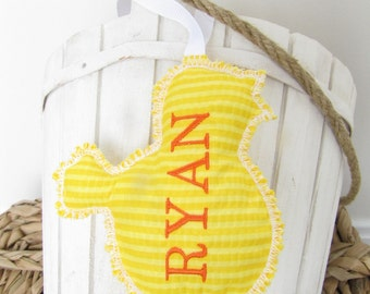 Easter Basket Name Tag Personalized Embroidered Chick
