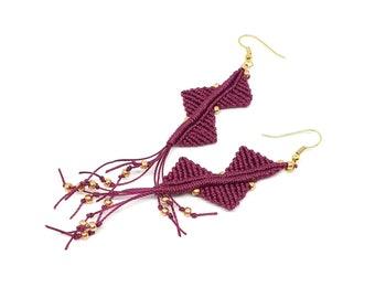Orecchini macrame, gioielli macrame, orecchini pizzo, orecchini moderni, orecchini geometrici, regalo compleanno, orecchini leggeri e lunghi