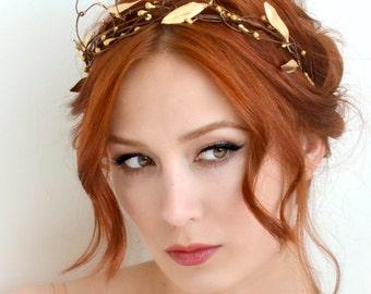 Leaf crown, gold bridal crown, grecian goddess head piece, golden tiara, wedding headband, bridal hair accessories by Gardens of Whimsy