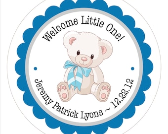 Teddy Bear with Bow . Personalized Baby Shower Stickers, Labels or Tags