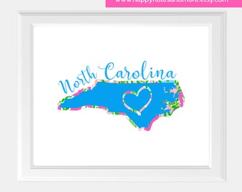 "North Carolina Lilly Inspired 8""x10"" Printable Wall Art- INSTANT DOWNLOAD"