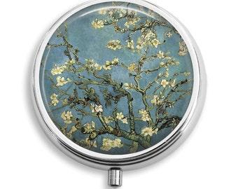 Almond Blossoms Van Gogh Impressionist Painter Pill Case Pill Box Case Trinket Box Vitamin Holder Medicine Box Mint Tin Gifts For Her