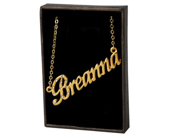 Name Necklace Breanna - Gold Plated 18ct Personalised Necklace with Czech Crystals
