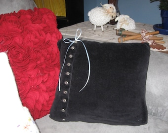 Black Velveteen Sweater Pillow with Silver Buttons