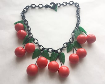 Vintage Lucite Cherry Bead Necklace