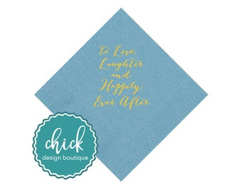 Love & Laughter Beverage Napkins Wedding Decor Fun Wedding Party Gifts Wedding Anniversary Party Gifts Custom Beverage 2D271B