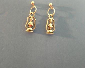 Silvertone Lantern Pierced Earrings