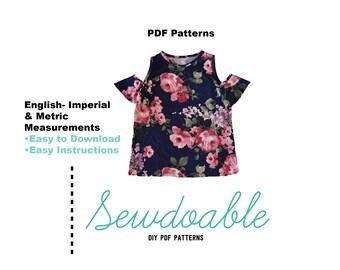 Cold Shoulder Top PDF Pattern 18/24M - 7/8Y