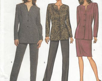 Womens Unlined Princess Seam Jacket, Pencil Skirt & Tapered Pants OOP Butterick Sewing Pattern 3599 Size 14 16 18 Bust 36 38 40 FF
