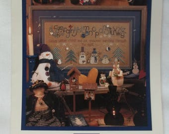 Snowman Cross Stitch Pattern Winter Sampler Vintage Shepherd's Bush Design