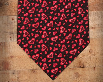 "Red Hearts on Black, Valentine Table Runner, 36"", 48"", 54"" or 72"" Table Runner, Valentine Decor, Valentine Party, Red and Pink Hearts"