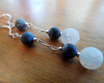Galaxy agate earrings, silver 925 findings