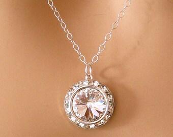Clear Crystal Bridesmaid Necklace: Swarovski Bridal Necklace, Sterling Silver Bridesmaid Jewelry, Swarovski Wedding Jewelry, Bridesmaid Gift