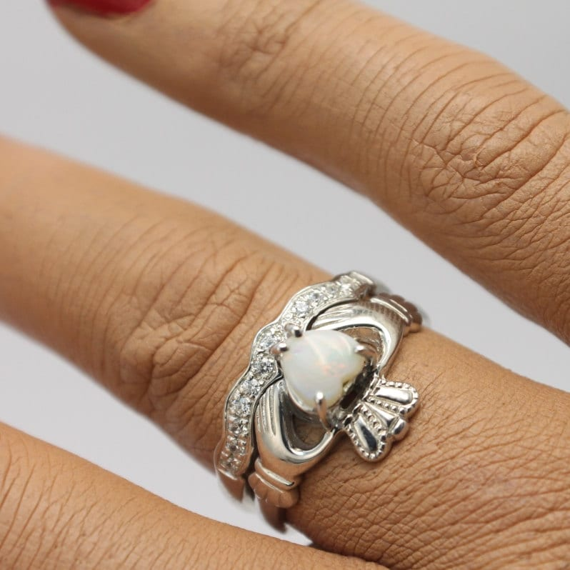 Real Opal Irish claddagh ring set with matching band Opal ring