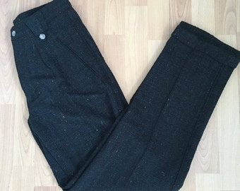 Vintage Dark Green Speckled Wool Cuffed Trousers, Made in Italy, Never Worn