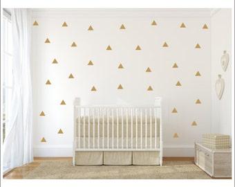 Gold Triangle Decals Vinyl Wall Decals Triangle Decals Tribal Decals Aztec Vinyl Wall Decals Bedroom Nursery Office Housewares