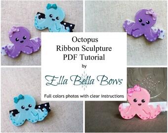 Instant Download, Octopus Ribbon Sculpture TUTORIAL in PDF