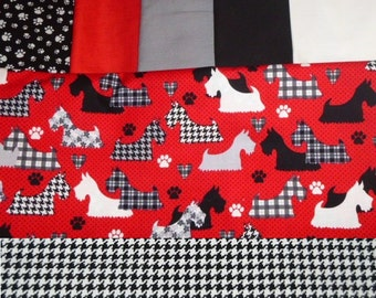 Dog Harness VEST And HAT Combo - SCOTTIE dog Fabric - 2 to 15 lb dogs-made to order