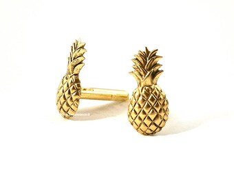Cufflinks Pineapple Antique Gold Tropical Fruit Cuff Links Vintage Inspired with Set Option