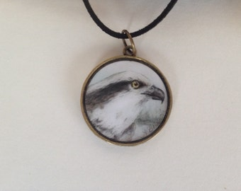 Osprey pendant with watercolor art print and necklace