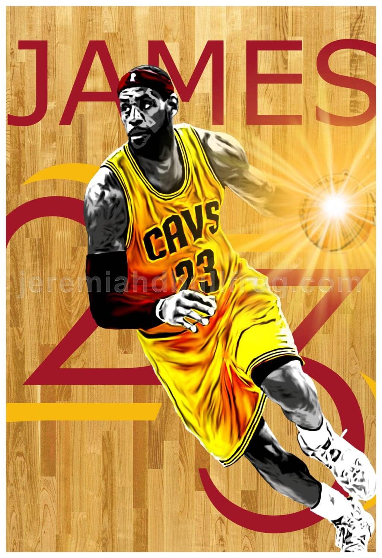 Cleveland Cavaliers LeBron James 23 Art
