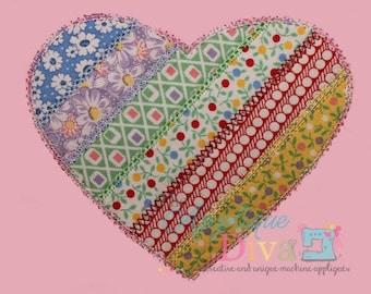 Spring Shabby Patchwork Heart Digital Embroidery Design Machine Applique