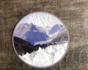 Glaciers and Mountains in Alaska Vinyl Sticker - Alaska Hand Lettered Vinyl Sticker - Nature Vinyl Sticker - Photography - Laptop Decal