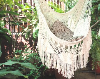 Hammock Chair, White Hammock Chair With Fringe And Loose Threads, Hanging  Chair Natural Cotton