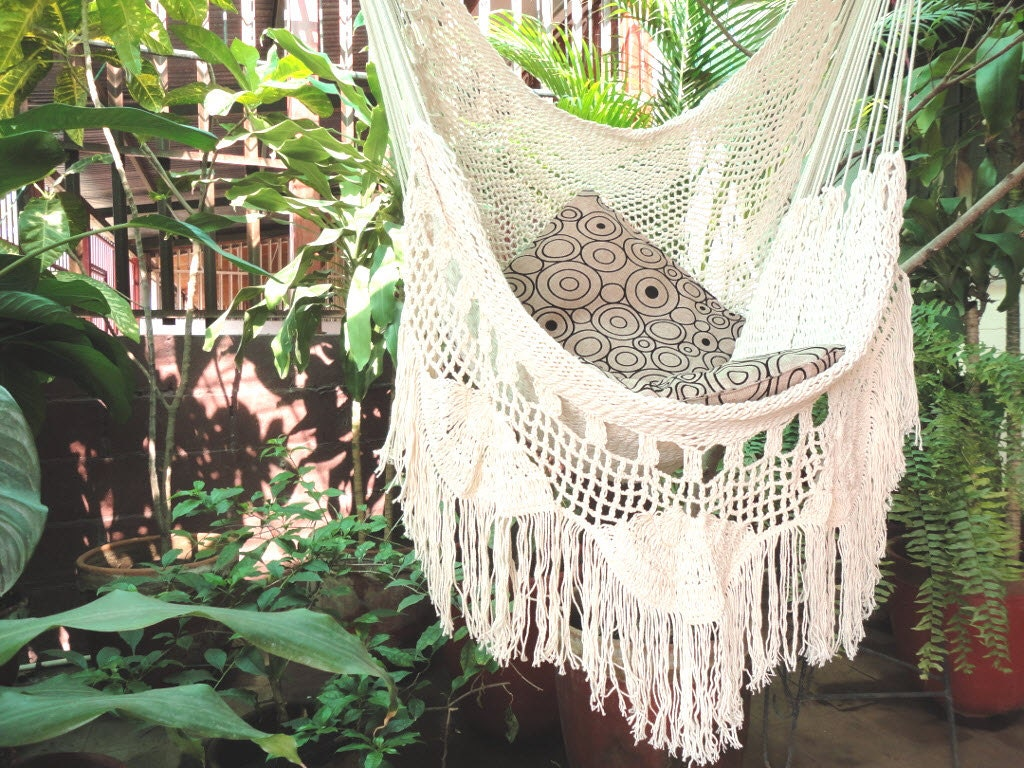 zoom hammock chair white hammock chair with fringe and loose  rh   etsy