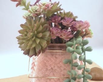 """Colorful Artificial Succulent Garden Potted Arrangement from Succulent Perrydise - 5"""" x 5"""" Square x 8"""" Tall - 20 Plants"""