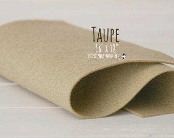 """100% Wool Felt 18"""" Square - Pure Merino Wool Felt Large Sheet - 18"""" X 18"""" - Color Taupe-7080 - Pure Wool Felt - Taupe Color Felt - Wool Felt"""