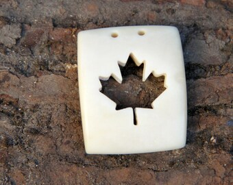 SALE Hand Carved bone Maple leaf pendant / hand carved maple leaf pendant / bone pendant / Toronto Maple Leafs / Canada 150