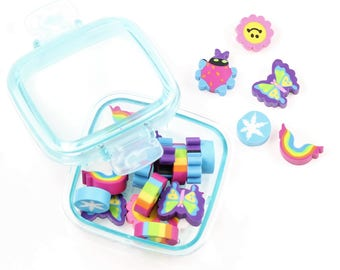 Kawaii Eraser set. In cute box.