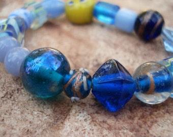 Women's Blue Glass Bracelet, Glass Bead Bracelet, Bracelet for Women, Beaded Bracelets, Stretch Bracelet, Glass Bead Jewelry