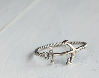 Silver Anchor Ring, Inspirational  Jewelry, Sterling Silver Jewelry, Nautical Ring,
